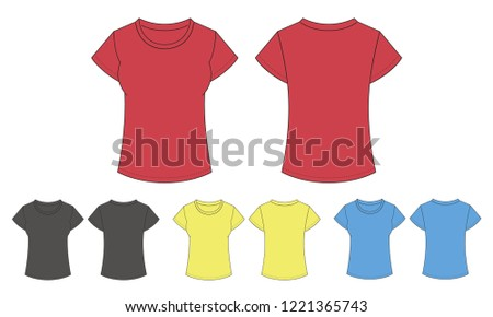 647c5e981 Template clean womens t-shirt for design. Mix the colors red, black, gray,  yellow, blue. Vector illustration, front and back view. - Vector