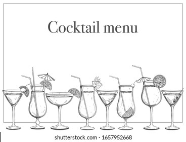 Template of the cocktail menu of the bar, restaurant cafe. Popular hand-drawn cocktails on a white background. Vector illustration