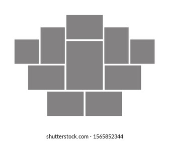 Template collage frames for moodboard, photo or illustration gallery. Vector mockup of symmetrical mosaic grid of pictures isolated on white background
