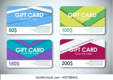 Template color gift cards, face value 50, 100, 150 and 200 dollars. Style of the material design. Vector illustration. Set