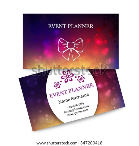 Template Colorful Business Cards Event Planner Stock Vector Royalty