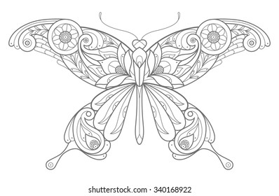 Template for coloring book. Vector decorative butterfly.