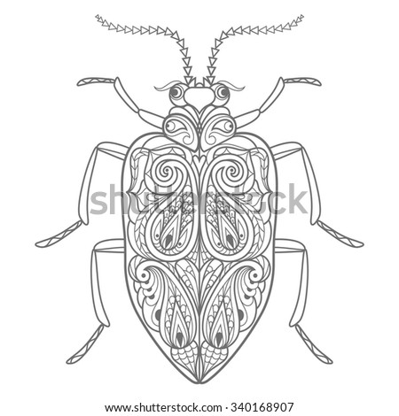 Template Coloring Book Vector Decorative Beetle Stock Vector ...