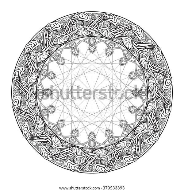 Template Colouring Book Adults Mandala Tattoo Stock ...