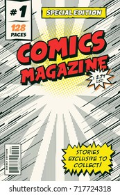 Template comic book cover. Vector illustration