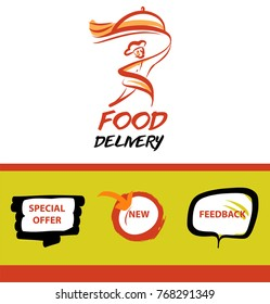 Template concept image for catering restaurant, cafe, bar. Person delivery. Logo for meal service company. Silhouette running fast man courier holding plate with dish.