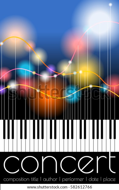 Template for concert poster. Music festival announcement. Vector illustration of color flashes on filaments over piano keyboard. Blending modes used. Editable stroke.