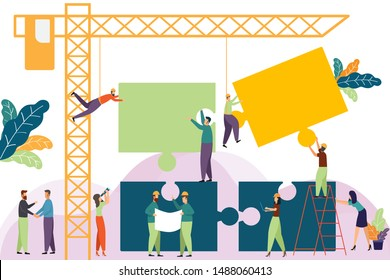 Template with construction tower crane made Jigsaw same business team. business people and engineering working. Business teamwork and relationship leader. Entrepreneur. concept vector illustration