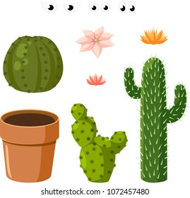 Template constructor. Blooming spiny green cactus with eyes. Vector.