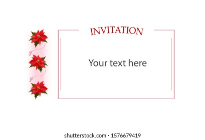 Template with copyspace for your text in thin pink frame and elegant vertical border of three red poinsettia flowers, traditional plant Christmas star, and flourishes. For prints, web design etc