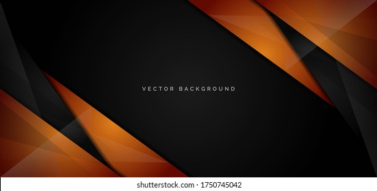 Template corporate banner of orange and black glossy stripes on black background. Vector illustration