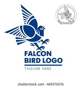 Template corporate company signs. Bird, eagle, falcon. Corporate style. Male logo. Serious, rigorous. Falcon hunting