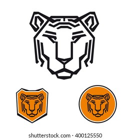 Template corporate company signs. The head of a tiger. Corporate identity for a security company, a sports hall. Male logo. Serious tiger.
