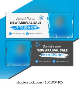 Template cover and banner social media for sale, template design with abstract shapes, white and black color design, template with blur background