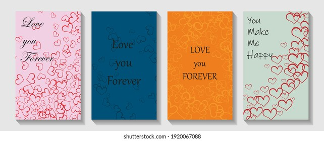 Template cover of a copybook with an trendy design: colorful hearts pattern. Modern cover design. Club flyer template.