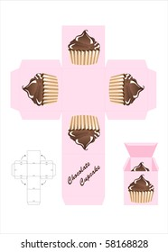 A template for a cupcake gift box. EPS10 vector format.