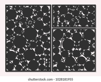 Template for cutting. Circle, geometric pattern. Laser cut. Set ratio 1:1, 1:2, 2:3. Vector illustration.