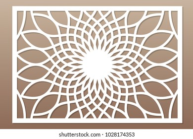 Template for cutting. Flower, geometric pattern. Laser cut. ratio 2:3. Vector illustration.