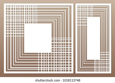 Template for cutting. Geometric, abstract, linear pattern. Laser cut. Set ratio 1:1, 1:2. Vector illustration.