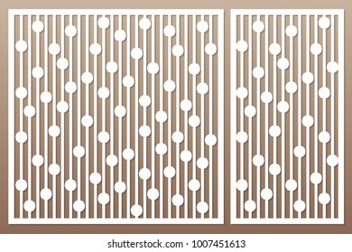 Template for cutting. Geometric line and circle pattern. Laser cut. Set ratio 1:2, 1:1. Vector illustration.