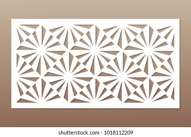 Template for cutting. Square, optical pattern. Laser cut. Ratio 1:2. Vector illustration.