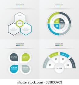 template design 4 item  Green, blue, gray color