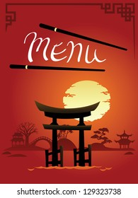 Template Design of Asian Menu: Abstract Landscapes with Gate
