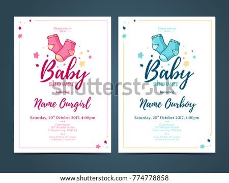Template design baby shower invitation infant stock vector royalty template design baby shower invitation infant invite with baby socks decorationfor girl or boy filmwisefo