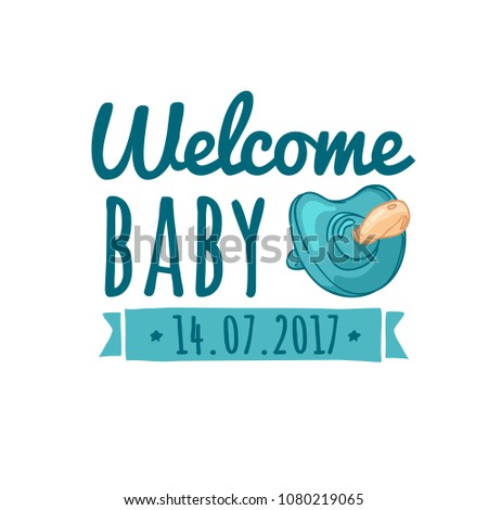 Template Design Baby Shower Logo Stickers Stock Vector Royalty Free