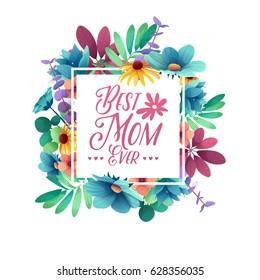 Template design banner Best mom ever.