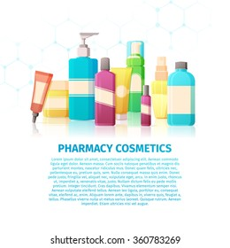 Template design banner, brochures, flyer with infographic about the pharmacy cosmetics. Medical beauty products for the skin care. Bottle for problem skin.