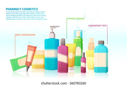 Template design banner, brochures, posters with infographics about the benefits and advantages of pharmacy medical cosmetics.