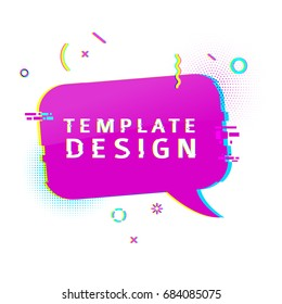 Template design banner with glitch effect. Horizontal pink speech bubble layout poster with broken particles. Banner with pixel graphics and geometric crash element. Vector