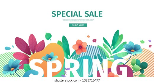 Template design banner for spring season sale. Promotion offer layout with plants, leaves and floral decoration.  Abstract shape with flowers frame. Vector.
