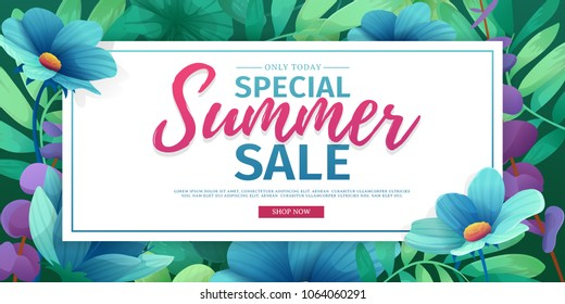 Template design banner for summer offer. Special sale advertising with floral frame. Summer advertising logo on flower background. Vector