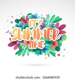 Template design banner for summer offer. Special sale advertising with floral frame and flower summer logotype. Pink background. Vector.