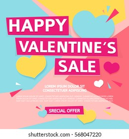 Template design  banner for Valentine's day offer. Geometric background with decor heart and particles for happy Valentine's day sale.  Romantic promotion card and flyer. Vector.