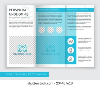Template design of blue trifold brochure with polygonal grid. Editable and light vector with places for photos. Proportionally A4