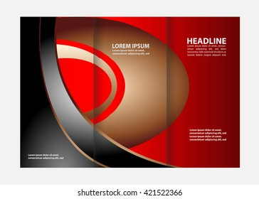 Template design of blue trifold brochure. Editable and light vector with places for photos. Proportionally A4