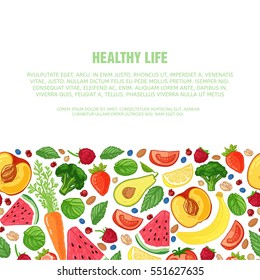 Template design booklet with the decor of the fruit. Horizontal pattern of natural foods, fruits, vegetables and berries. Texture decor vegetarian meal for poster, banner. Vector.