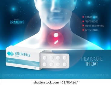 Template design branding medical products for treatment of colds and throat. Promotion packaging with tablets blister. Mockup to ads, cover, poster for health and beauty. 3d blank vector illustration.