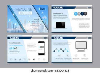 Template Design Brochure, Annual Report, Magazine, Poster, Corporate Presentation, Portfolio, Flyer Set With Copy Space Vector Illustration