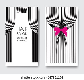 Template design business card with long straight hair and bow. Business card front and back side. Design for beauty salon
