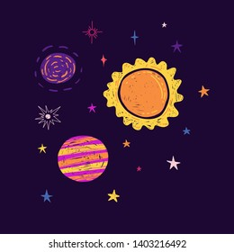 Template Design with cartoon graphic space. Print with the composition of planets and stars. Children illustration  cute doodle style  with universe and starry. Vector.