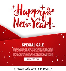 Template design christmas banner. Happy new year brochure with decoration red tape for xmas sale. Poster with snowflake background for a happy holiday offer. Vector.