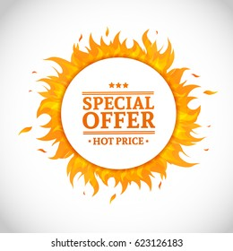Template design circle banner with Special sale. Card for hot offer with frame fire graphic. Advertising poster layout with flame border on white background. Vector.