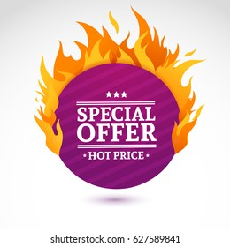 Template design circle banner with Special sale. Purple round card for hot offer with frame fire graphic. Advertising poster layout with flame border on white background. Vector.
