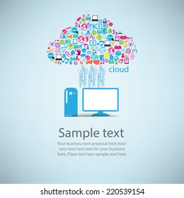 Template design computer idea with social network icons background, vector