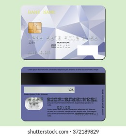 Template design of a credit card on the front and back sides. Vector illustration