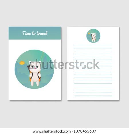 template design diary notebook workbook postcard stock vector